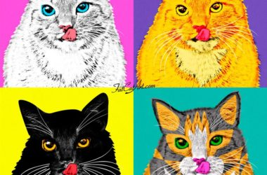 Andy Warhol, Marylin the Cat in white, yellow, black, and tortoise shell